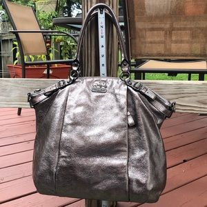 Coach Purse Pewter Leather